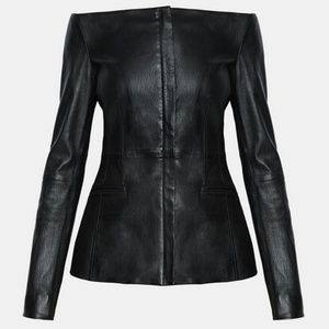 Theory leather off the shoulder jacket,  NWT